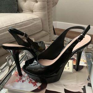 Patent-leather peep toe sling stilettos